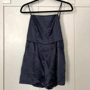 Urban Outfitters Shiny Navy Romper